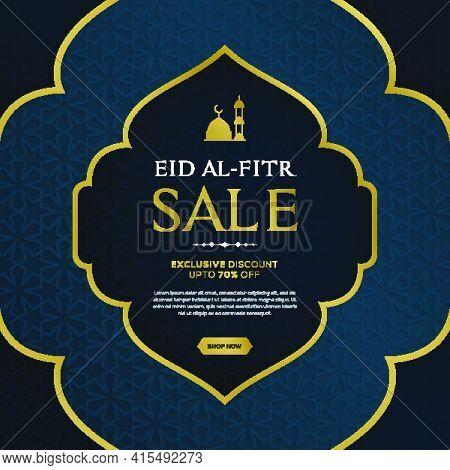 Eid Al Fitr Sale Banner With Hanging Lantterns On Blue Islamic Pattern Background. Modern Trendy Ban