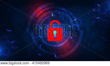 Attack And Information Leak Concept.padlock Red Open On Hexagon Geometric Graphics Dark Blue.destruc