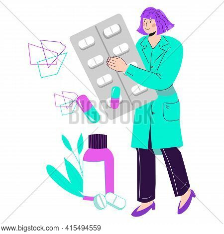 Pharmacist Or Doctor Female Cartoon Character Offering Medications. Drugstore And Pharmacy Industry