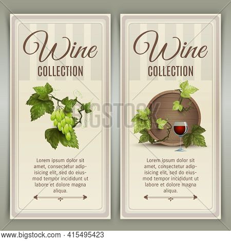 Winery Farm Quality Wines Collection Advertisement 2 Vertical Banners Set With Oak Barrel Abstract V