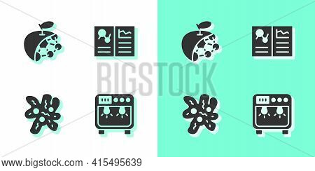 Set Biosafety Box, Biological Structure, Cell And Clinical Record Icon. Vector