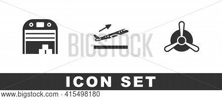 Set Aircraft Hangar, Plane Takeoff And Propeller Icon. Vector