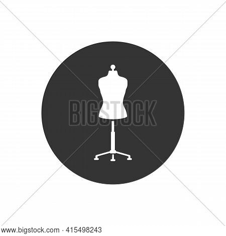 Sewing Doll White Icon. Mannequin Vector Illustration Isolated. Fashion Designer