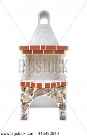 Small Barbecue Open Fireplace For Cookout Food, Decorated With A Special Coating Of Stone With Moss.