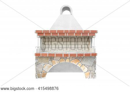 Extra Large Barbecue Open Fireplace For Cookout Food. Outdoor Bbq Grill. Open Summer Kitchen. Barbeq