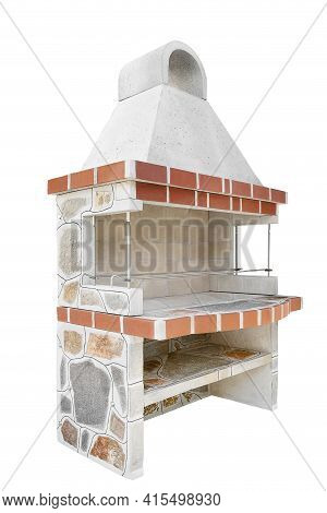 Large Barbecue Open Fireplace With Shelf For Cookout Food. Outdoor Bbq Grill. Open Summer Kitchen. B