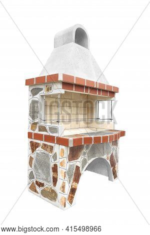 Large Barbecue Open Fireplace For Cookout Food. Outdoor Bbq Grill. Open Summer Kitchen. Barbeque Gri
