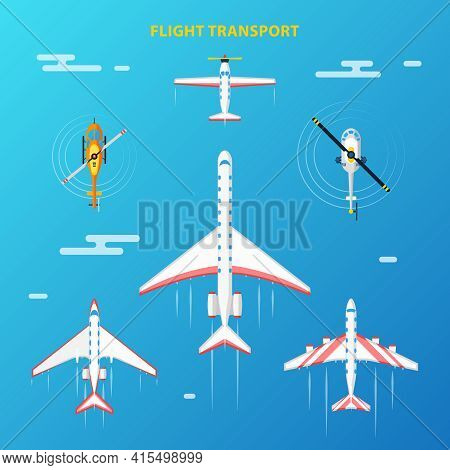 Air Transport At Flight Collection Top View With Helicopters And Airplanes Blue Sky Background Abstr