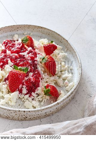 Cottage Cheese With Jam And Strawberries In Plate On Light Background With Napkin. Concept Healthy B