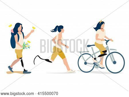 Vector Set Of A Disabled Girl With A Prosthetic Leg Leads An Active Lifestyle Walks, Rides A Bicycle