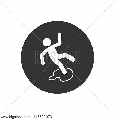 Slippery Floor Danger Pictogram Illustration Isolated On White Background. Vector White Icon