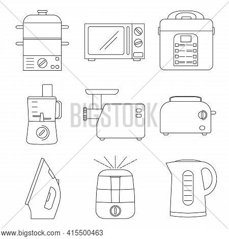 Small Appliances For Kitchen And Home. Household Tools Outline Icons. Food Preparation Equipment - S