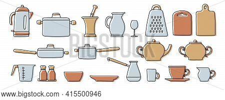 Kitchenware Sketch Set. Doodle Line Vector Kitchen Utensils And Tools. Kettle, Saucepan, Ladle, Cezv