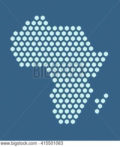 Dark Blue Hexagonal Pixel Map Of Africa. Vector Illustration African Continent Hexagon Map Dotted Mo