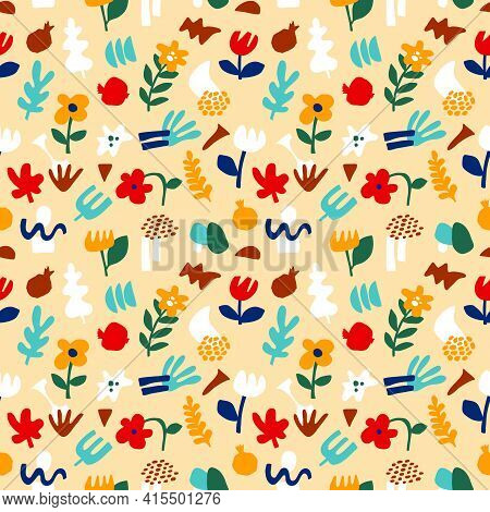Trendy Abstract Pattern, Geometric Shapes In Contemporary Style. Vector Floral Seamless Pattern Flow