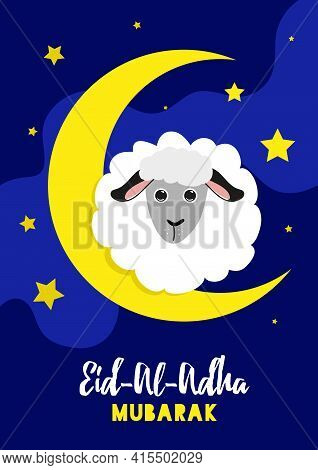 Vector Illustration Of Sheep With Arabic Islamic Text Eid-al-adha On Blue Backgrounds