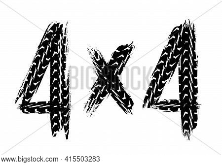 Car Off Road Racing Sport Grunge Print With Tires Marks. Auto Or Motorbike Wheels Traces, Dirty Or R