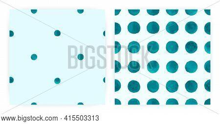 Watercolor Polka Fabric. Seamless Spot Textile. Blue Hand Drawn Wallpaper. Vector Watercolor Polka.