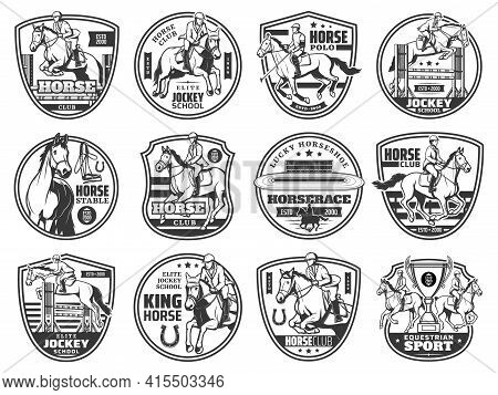 Horse Racing, Equestrian Rides And Horse Race Polo Club Vector Emblem Icons. Equine Steeplechase Cha