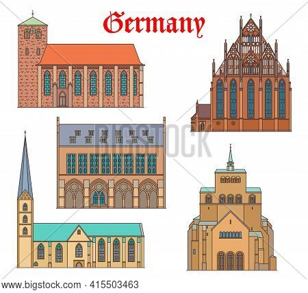 Germany Landmark Buildings, German Travel Architecture Cathedrals Churches And Houses, Vector. St Wi