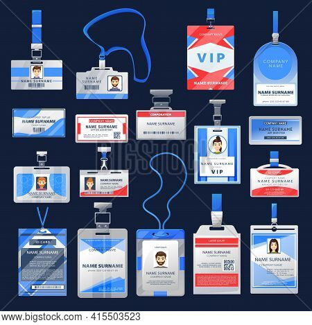 Id Card Or Badge Vector Mockups Of Employee Identification Name Tags. Access Cards With Photo In Cle
