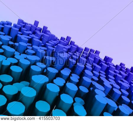 3D render of a modern landscape of extruding hexagons