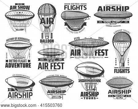 Air Show, Flight Tours And Aeronautics History Retro Icons. Vintage Air Balloons, Antique Dirigible