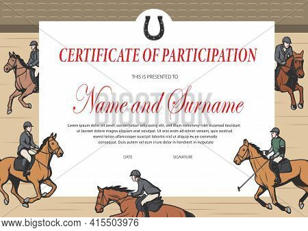 Certificate Of Participation In Horse Race, Winner Diploma Vector Template. Stallion Racing Award Bo