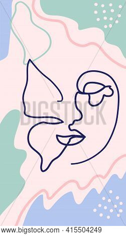 Butterfly Surreal Faces Continuous Line, Faces And Hairstyle, Fashion Concept, Woman Beauty Minimali