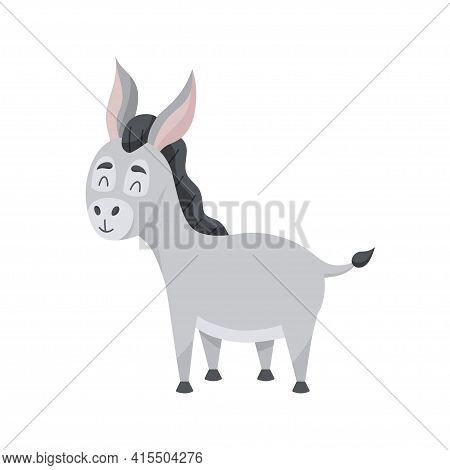 Young Grey Ass In Cartoon Style. The Cute Character Is Happy. Vector Illustration, Isolated Color El