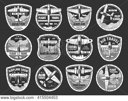 Aviation School And Air Tours Icons Set. Professional Pilots Academy, And Airplane Travels Emblem Or