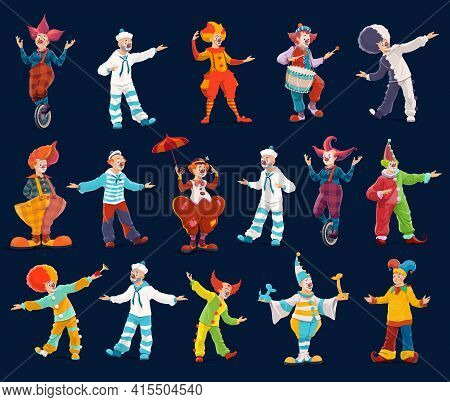 Clown And Joker Cartoon Characters Of Circus And Carnival Show Vector Design. Jesters, Comedian Acto