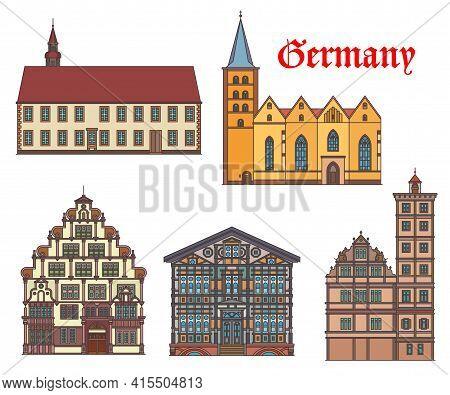 Germany Landmark Buildings Architecture Of Lemgo, Churches And Fachwerk Houses, Vector. Junkerhaus A