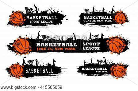 Basketball Team Match, Sport League Game Grungy Banner With Ball, Silhouette Of Players Doing Slam D