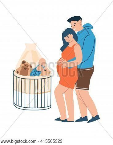 Young Family. Young Parents Expecting Childbirth. Isolated Cartoon Hugging Couple And Toddler In Cra