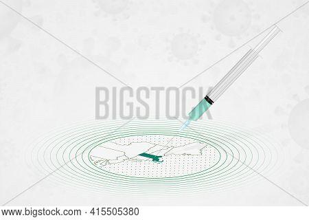 Massachusetts Vaccination Concept, Vaccine Injection In Map Of Massachusetts. Vaccine And Vaccinatio