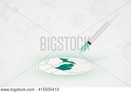 Michigan Vaccination Concept, Vaccine Injection In Map Of Michigan. Vaccine And Vaccination Against