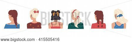 Hairstyle. Cartoon Female Haircut. Isolated Back View Of Women Portraits. Young Brunettes And Blonde