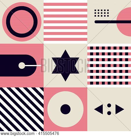 Abstract Geometric Shapes And Form Simple Pattern Composition Backgroud. Vector Illustration