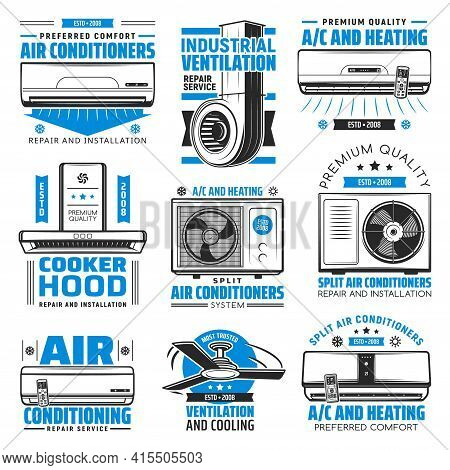 Air Conditioning, Heating And Cooking Hood Vector Icons. Conditioner Device For Home And Industrial