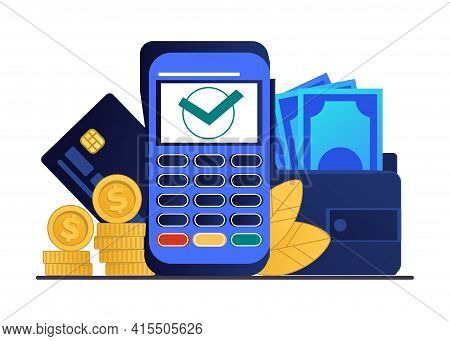 Payment Terminal. Cashless Financial Transaction Concept. Pay With Credit Card. Electronic Banking E