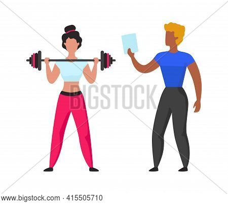 Gym Coach. Cartoon Fitness Trainer Helps Girl Workout. Instructor Teaches Woman Doing Sport Exercise