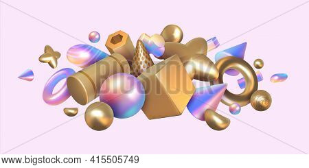 Geometric Render Background. Abstract Holographic Or Metallic Elements. Realistic 3d Square And Roun