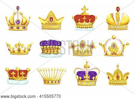 Cartoon Crowns. Golden King And Queen Royal Headwear. Gold Diadems With Diamonds. Monarch Symbols Se