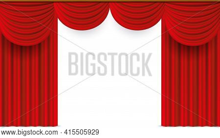 Red Curtains. Realistic Theater Stage Drapery. 3d Luxury Window Drapes. Hanging Velvet Fabric With F