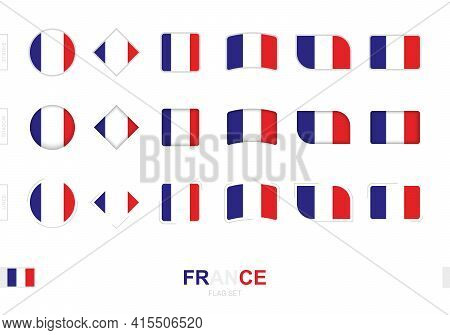 France Flag Set, Simple Flags Of France With Three Different Effects. Vector Illustration.