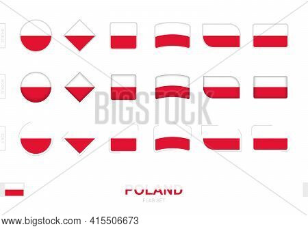 Poland Flag Set, Simple Flags Of Poland With Three Different Effects. Vector Illustration.