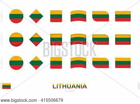Lithuania Flag Set, Simple Flags Of Lithuania With Three Different Effects. Vector Illustration.