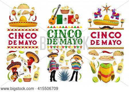Cinco De Mayo Vector Banners With Mexican Holiday Food, Fiesta Party Chilli Pepper And Mariachi Char