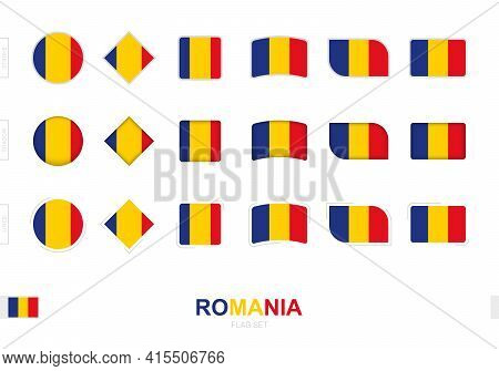 Romania Flag Set, Simple Flags Of Romania With Three Different Effects. Vector Illustration.
